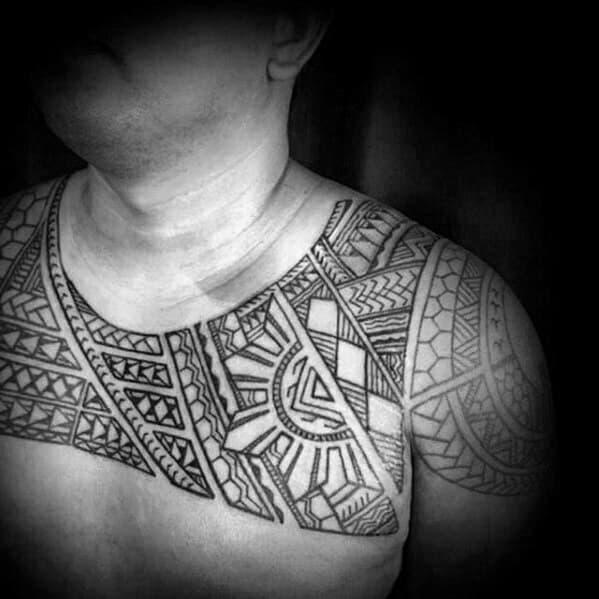 Upper Chest Tribal Filipino Sun Tattoo Design Ideas For Males