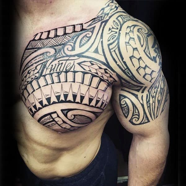 Upper Chest Tribal Tattoo Arm For Guys