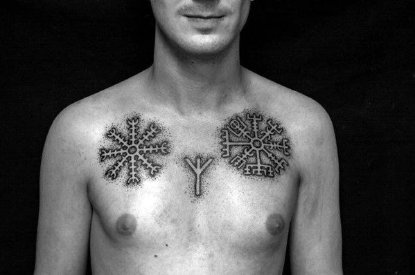 Upper Chest Viking Compass Male Dotwork Negative Space Tattoo Design Ideas