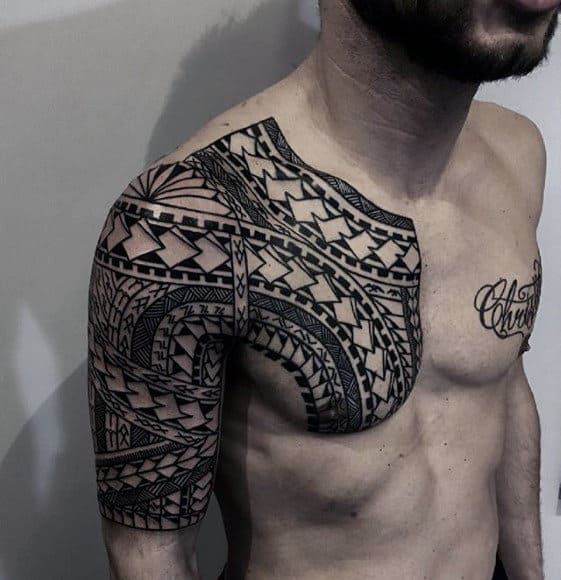 Upper Chest With Half Sleeve Sick Tribal Maori Mens Tattoos