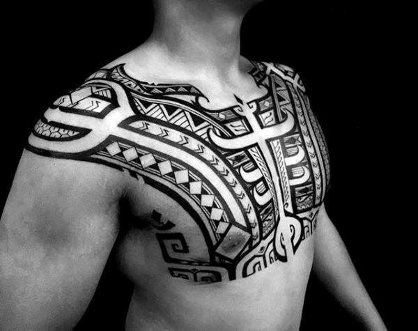 Upper Chest With Shoulders Mens Tribal Tattoos