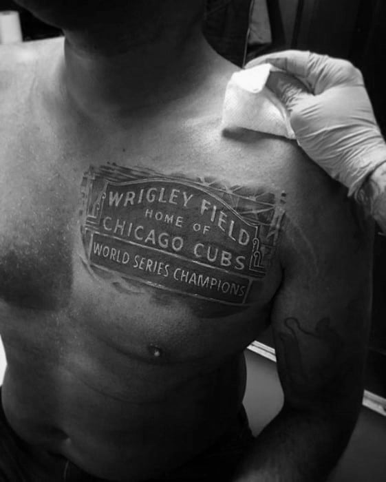 Upper Chest Wrigly Field Chicago Cubs Male Tattoo Designs