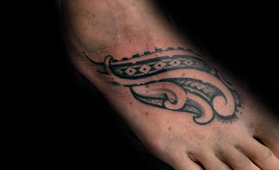 Upper Foot Male Tribal Tattoo Inspiration
