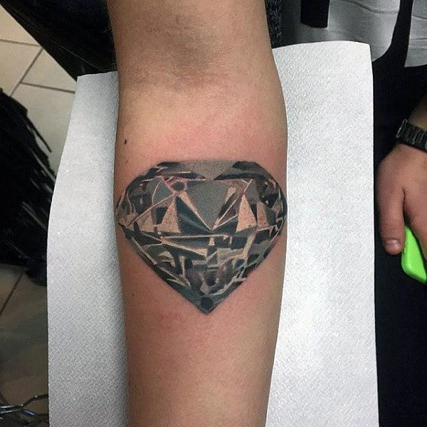 Upper Forearm Guys Diamond Tattoo