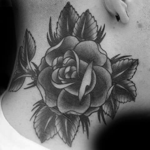 Upper Neck Guys Black Rose Shaded Old School Tattoo