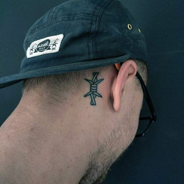 Upper Neck Head Male Tattoos Of Barbed Wire