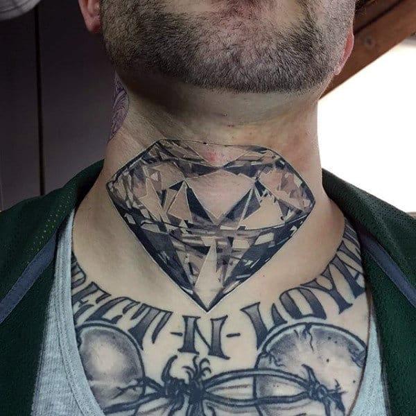 Upper Neck Mens Diamond Tattoo
