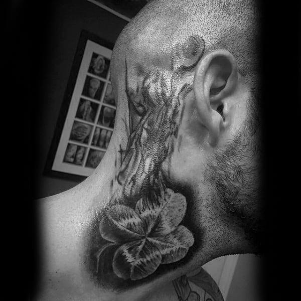 Upper Neck Smoking Four Leaf Clover Tattoo For Guys