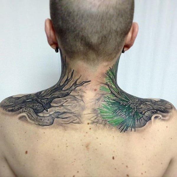 Upper Pine Needle Tree Back Tattoo For Guys