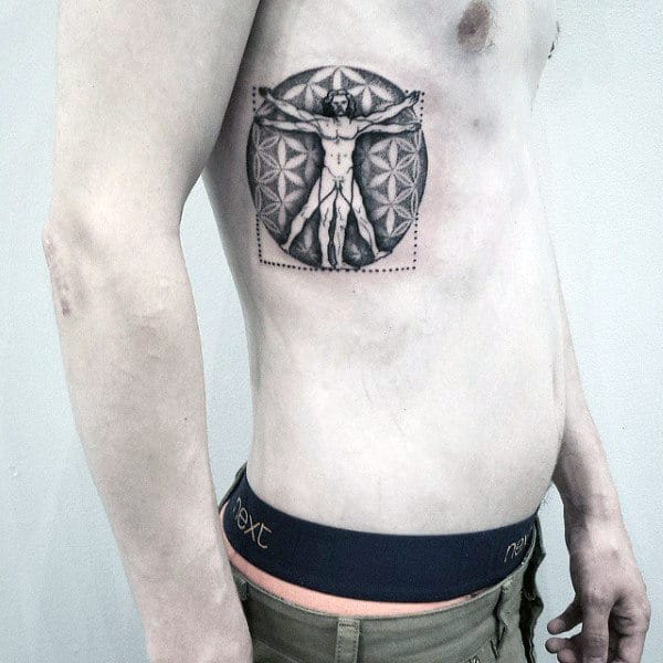 Upper Rib Cage Side Male Flower Of Life Patter Vitruvian Man Tattoo Designs