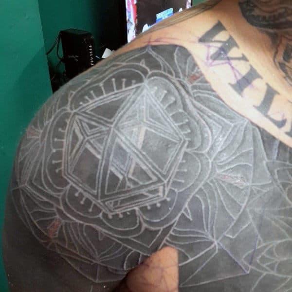 Upper Shoulder And Chest 3d White Ink Tattoos For Men