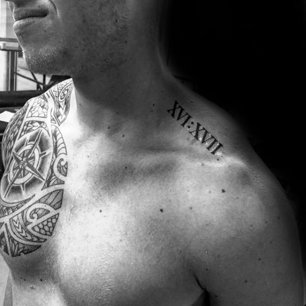 Upper Shoulder Guys Roman Numeral Tattoo Designs