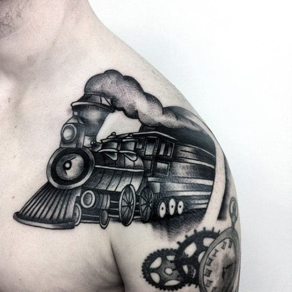 Upper Shoulder Mens Rail Road Crossing Train Tattoo