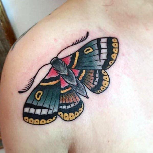 Old school moth tattoo