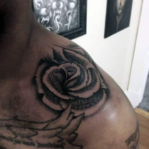 Upper Shoulder Money Rose 3d Male Tattoos
