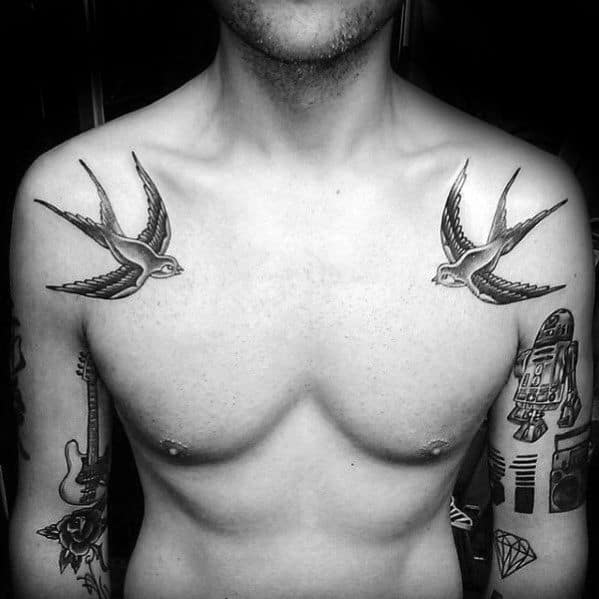 Upper Shoulders Male Traditional Birds Flying Tattoo
