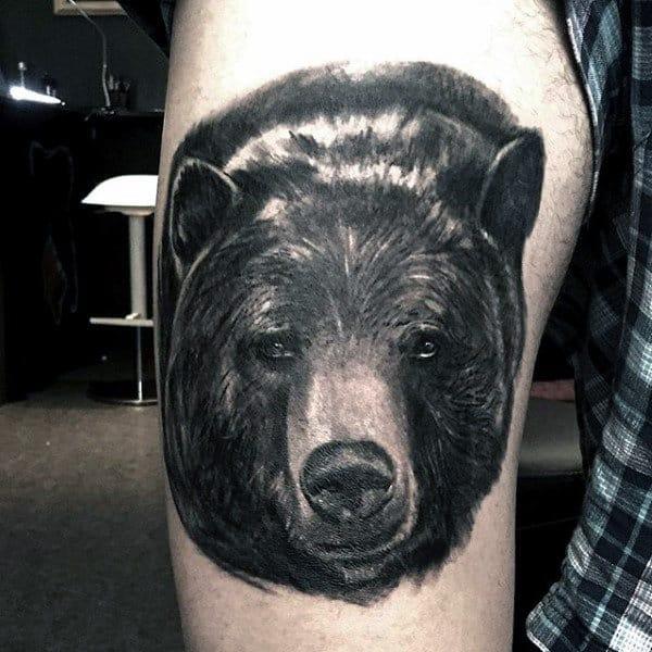 Upper Thigh Black Bear Tattoo For Guys