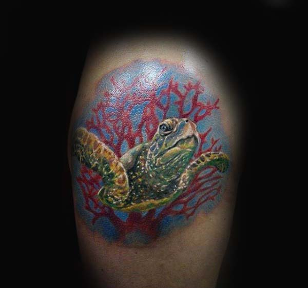 Upper Thigh Guys Red Coral Reef With Turtle Tattoo
