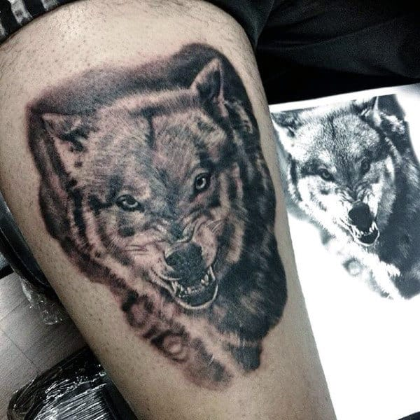 Upper Thigh Wolf Tattoo For Men