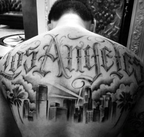 Uppper Back Cool Male Los Angeles Skyline Tattoo Designs