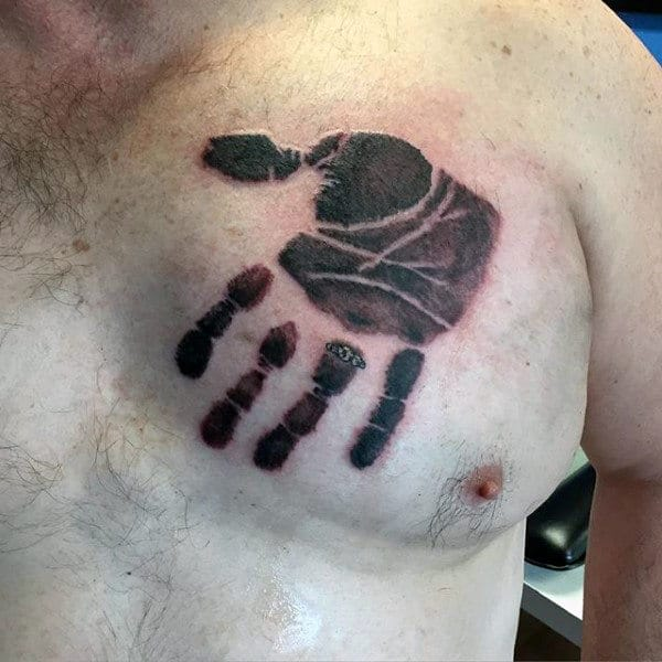 Upside Down Handprint Mens Chest Tattoos
