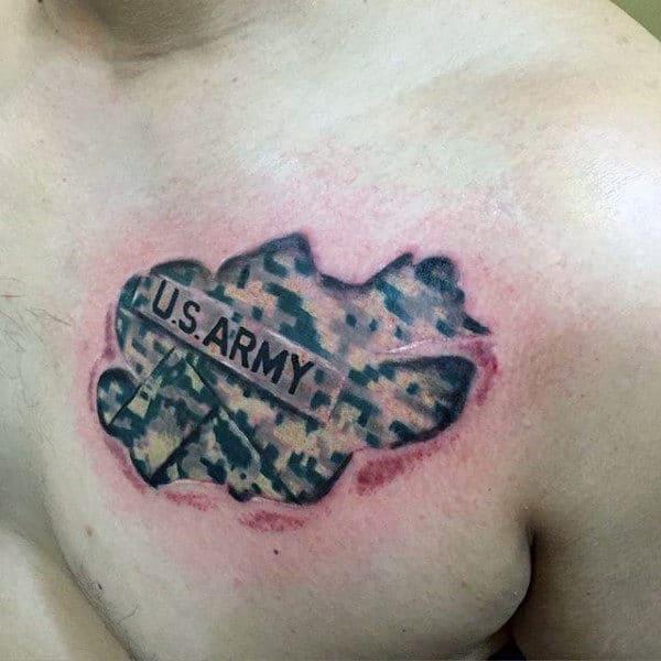 Us Army Digital Camo Mens Upper Chest Ripped Skin Tattoo Design