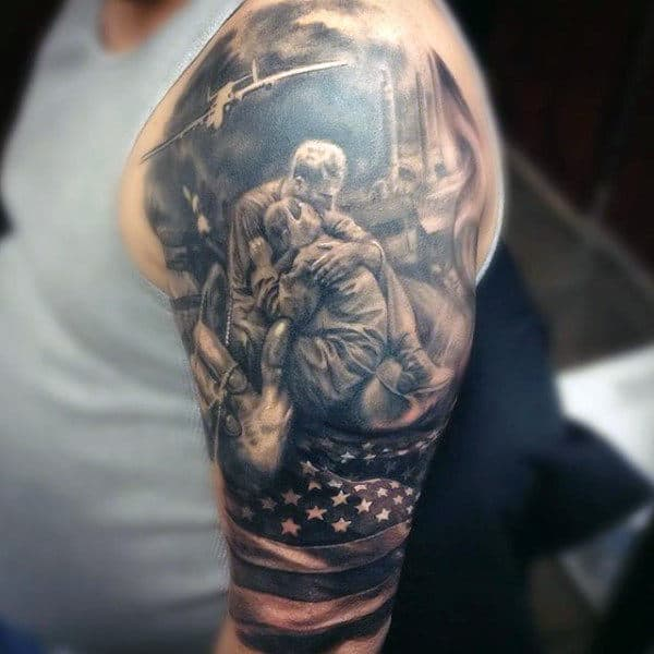 Us Flag Solider Comforting Fallen Army Mens Half Sleeve Tattoos