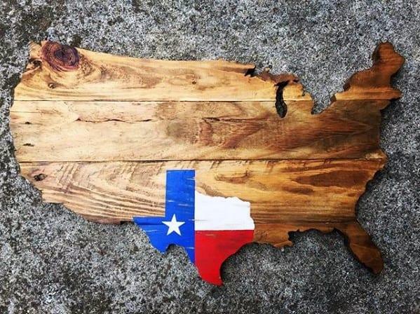 Usa Map With Color Texas Flag Diy Man Cave Ideas