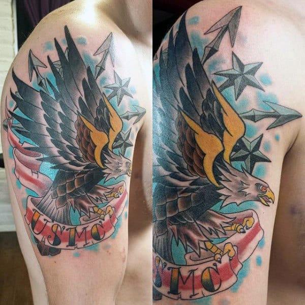 Usmc Mens Upper Arm Marine Bald Eagle Tatotos