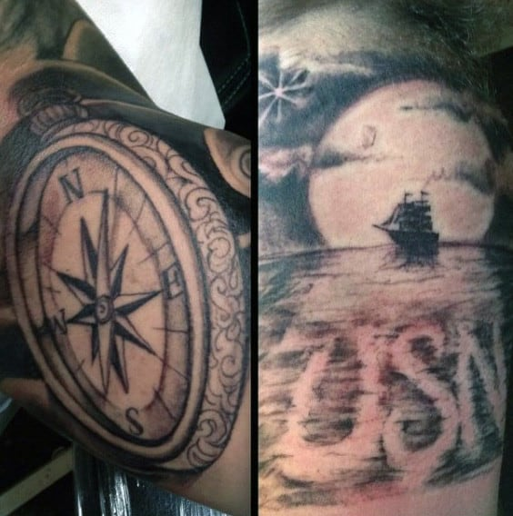 Usn Mens Sailing Ship Arm Tattoo Sleeve