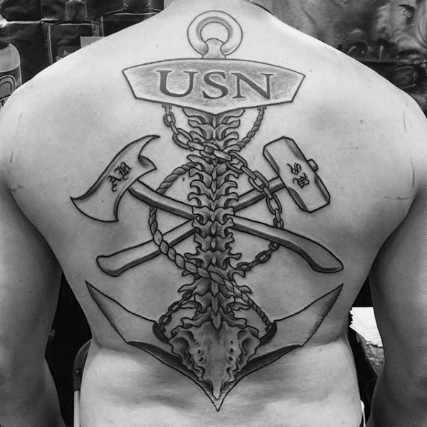 Usn Mens Spine And Back Navy Tattoo Design Ideas