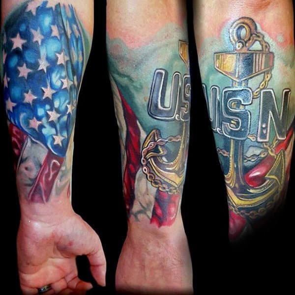 Usn Navy Anchor Tattoo Forearm Sleeve For Men