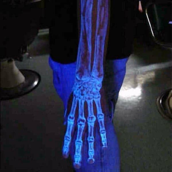 Uv Ink Black Light Mens Hand And Forearm Bone Tattoos