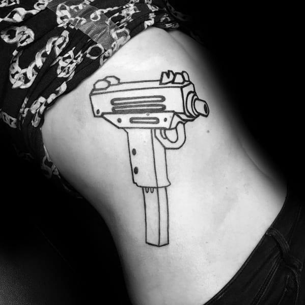 Uzi Outline Themed Tattoo Design Inspiration