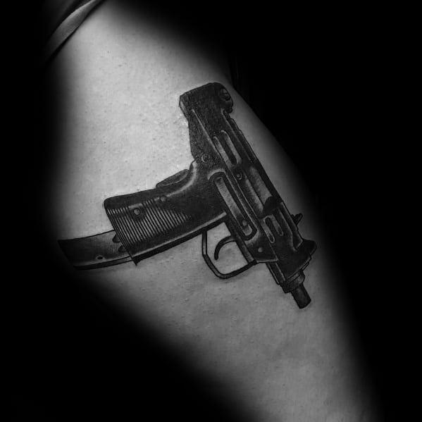 Uzi Tattoo Designs For Gentlemen