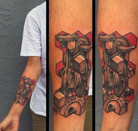 V6 Piston Design For Men's Tattoos