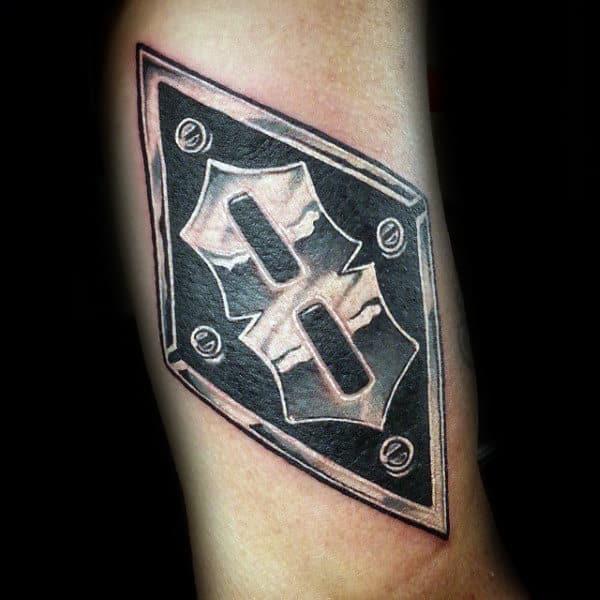 V8 Metallic Plate Mens Arm Tattoo Designs