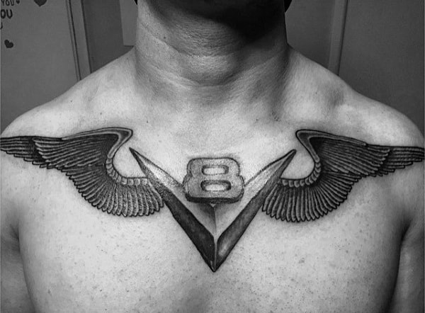 V8 Symbol With Wings Upper Chest Tattoos For Men