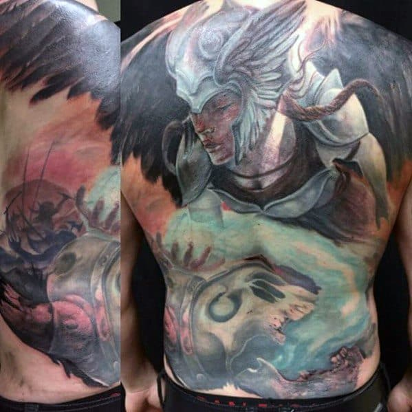 Valkyrie Male Tattoo Designs Full Back