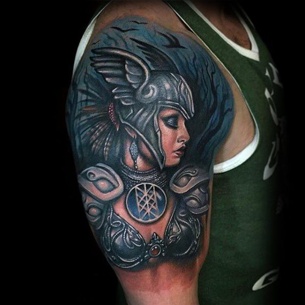 Valkyrie Norse Tattoo Design On Man Half Sleeve