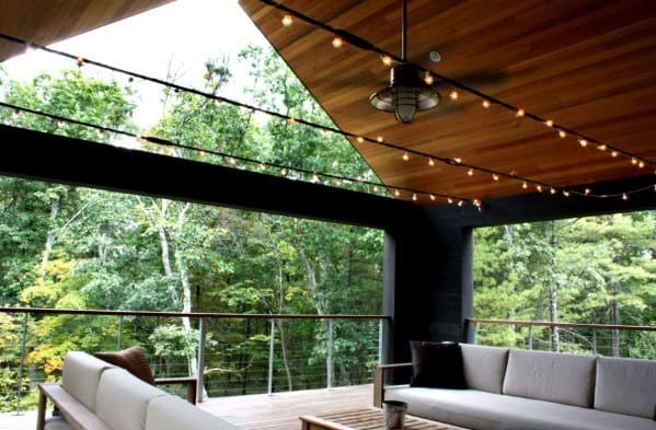 Valuted Wood Ceiling Roof Patio String Light Design Inspiration