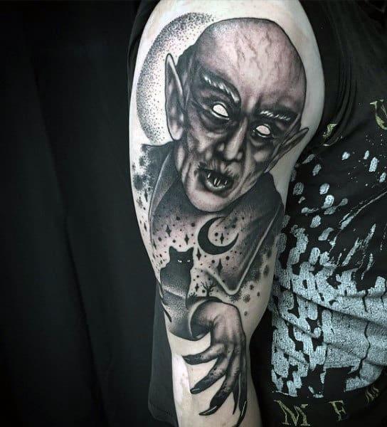 Vampire Moon And Stars Mens Upper Arm Tattoos