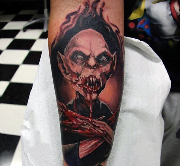 Vampire With Bloody Mouth Tattoos For Men On Arm