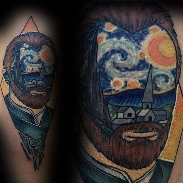 Van Gogh Starry Night Creative Mens Arm Tattoos