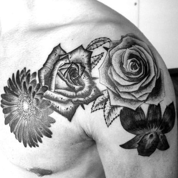 Various Flowers Orchid Mens Shoulder Tattoos