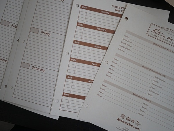 Various Included Kit Sheets Rite In The Rain Maxi Field Planner