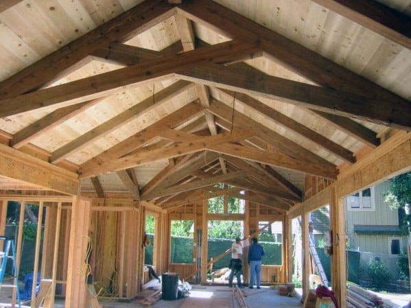 Vaulted Natural Wood Beams Garage Ceiling Ideas
