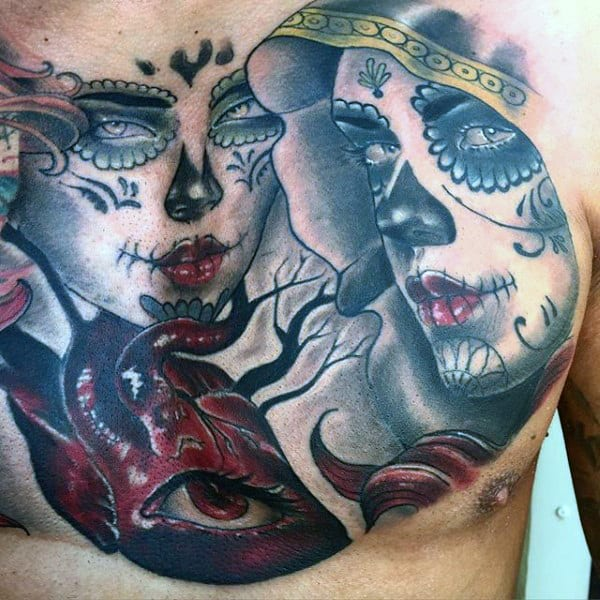Veiled Day Of The Dead Lady Tattoo With One Eyed Heart Guys Chest
