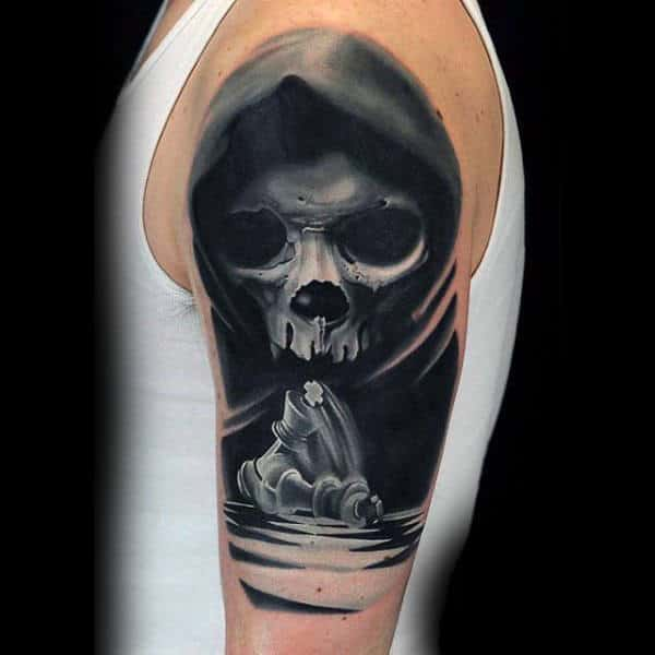 Veiled Skull And Chess Pieces Black And White Tattoo On Male Arms
