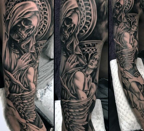 Veiled Skull Religious Tatoo Guys Sleeves